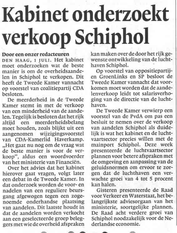 Kabinet onderzoekt verkoop Schiphol