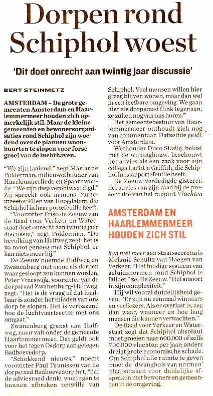 Dorpen rondom Schiphol woest