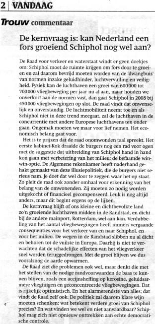 De kernvraag is: kan Nederland een fors groeiend Schiphol nog wel aan?