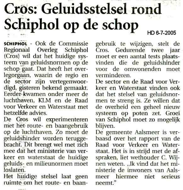 Cros: Geluidsstelsel rond Schiphol op de schop