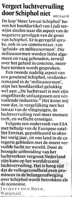 Vergeet luchtvervuiling door Schiphol niet