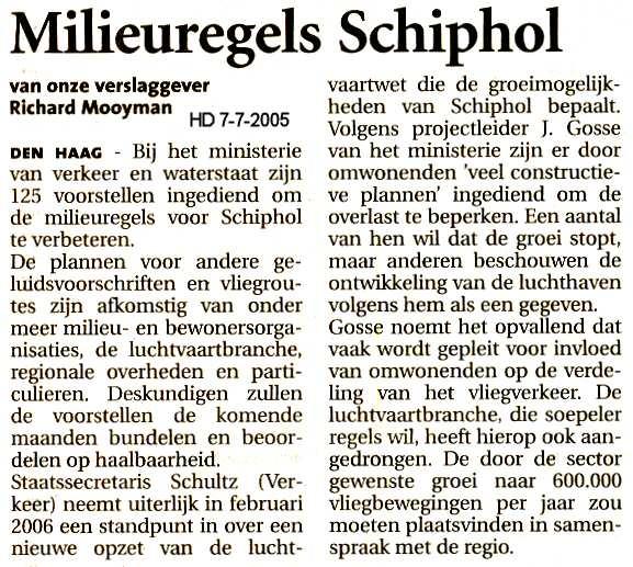 Milieuregels Schiphol