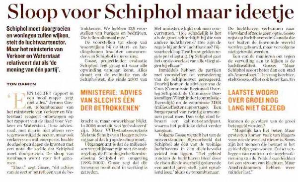 Slopen voor Schiphol maar ideetje
