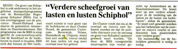 'Verdere scheefgroei van lusten en lasten Schiphol'