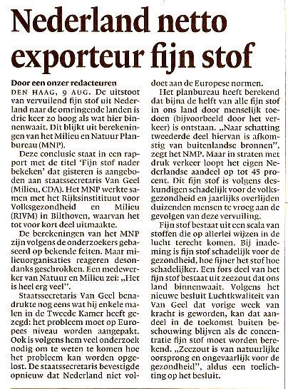 Nederland exporteur fijn stof.
