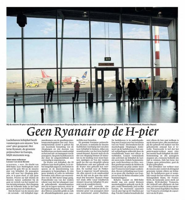 Geen Ryanair op de H-pier