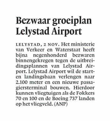 Bezwaar groeiplan Lelystad Airport