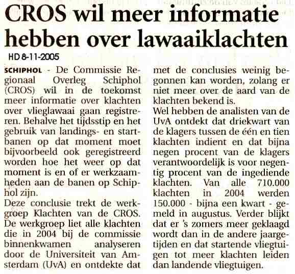 CROS wil meer informatie hebben over lawaaiklachten