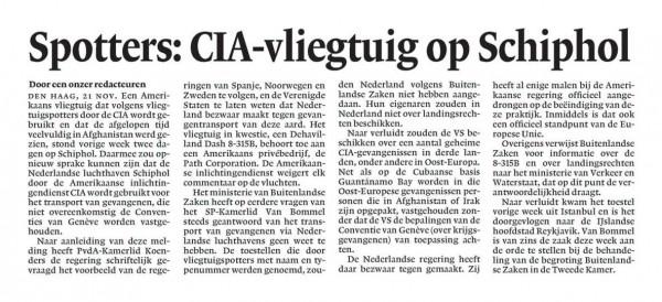 Spotters: CIA-vliegtuig op Schiphol