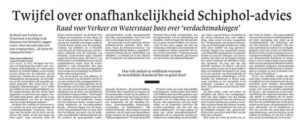 Twijfel over onafhankelijkheid Schiphol-advies
