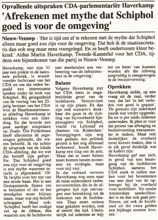 Haverkamp: 'afrekenen met mythe dat Schiphol goed is voor de omgeving'