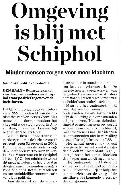Omgeving is blij met Schiphol