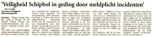 Veiligheid Schiphol in geding door meldplicht incidenten