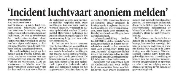 'Incident luchtvaart anoniem melden'