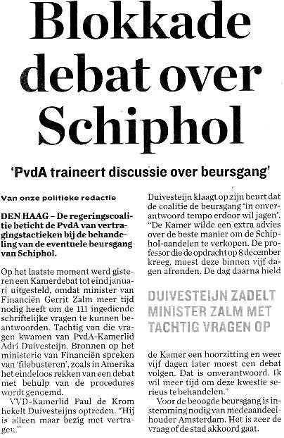 Blokkade debat over Schiphol