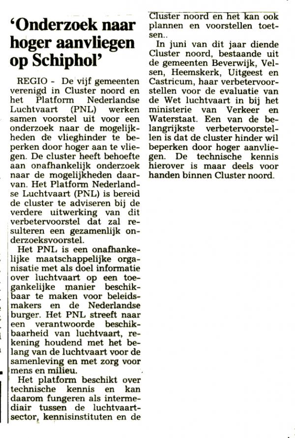 'Onderzoek naar hoger aanvliegen Schiphol'