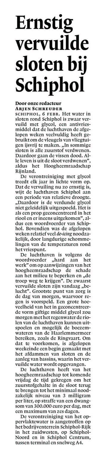 Ernstig vervuilde sloten bij Schiphol