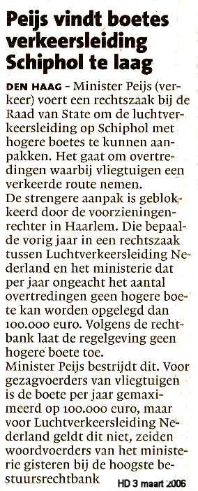 Peijs vindt boetes verkeersleiding Schiphol te laag