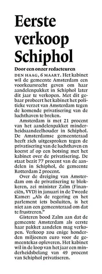 Eerste verkoop Schiphol
