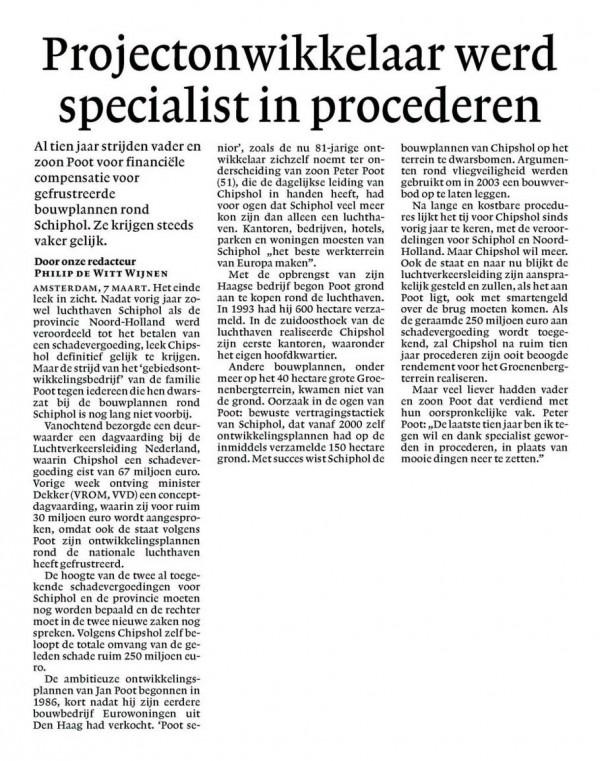 Projectontwikkelaar werd specialist in procederen