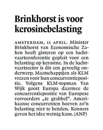 Brinkhorst is voor kerosinebelasting