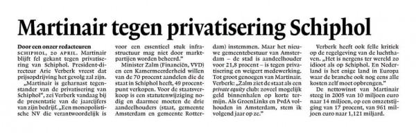 Martinair tegen privatisering Schiphol