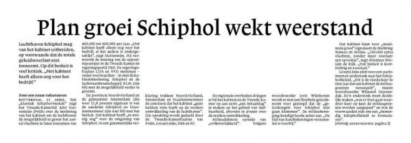 Plan groei Schiphol wekt weerstand