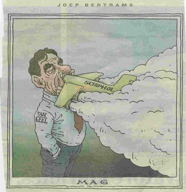 Cartoon- Van Geel rookt zware sigaar