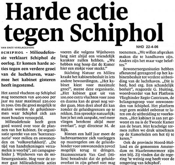Harde actie tegen Schiphol