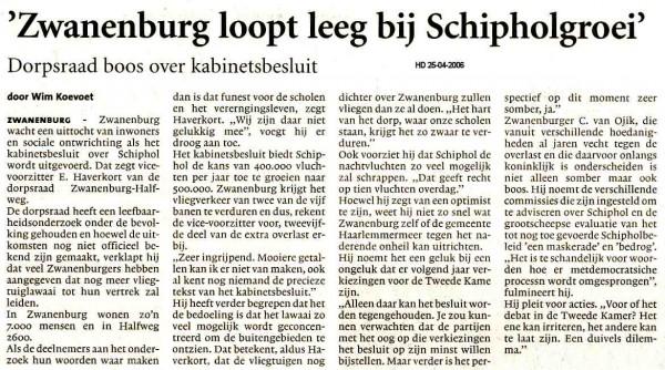 Zwanenburg loopt leeg bij Schipholgroei