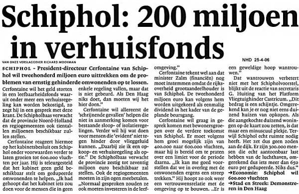 Schiphol  200 miljoen in verhuisfonds