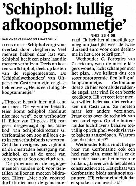 """""""Schiphol: lullig afkoopsommetje"""""""