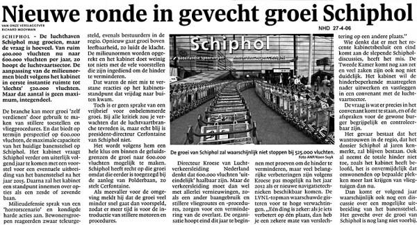 Nieuwe ronde in gevecht groei Schiphol
