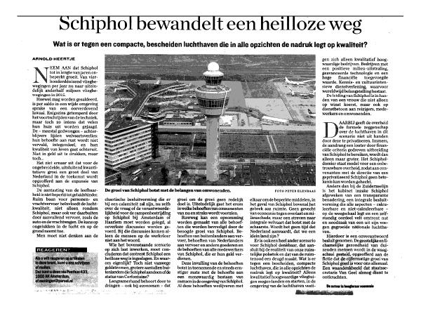 """Heertje: """"Schiphol bewandelt heilloze weg"""""""