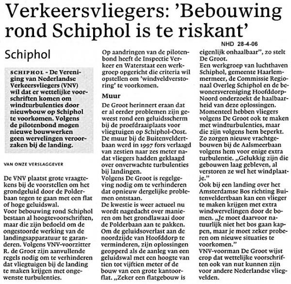 "Verkeersvliegers: ""Bebouwing rond Schiphol is te riskant"""