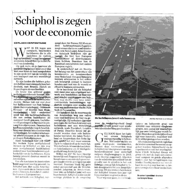"""Cerfontaine: """"Schiphol is zege voor economie"""""""