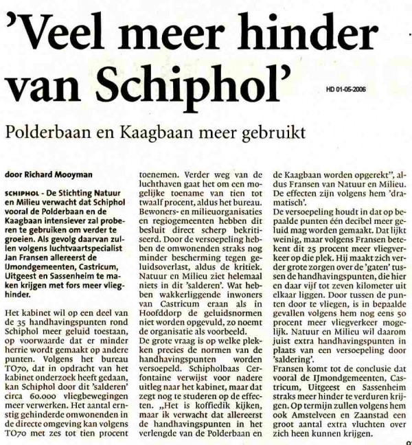 Veel meer hinder van Schiphol