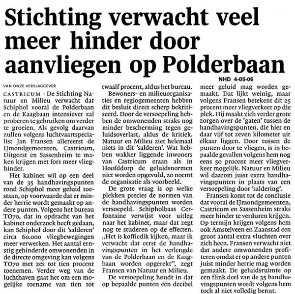 Stichting verwacht veel meer hinder door aanvliegen op Polderbaan