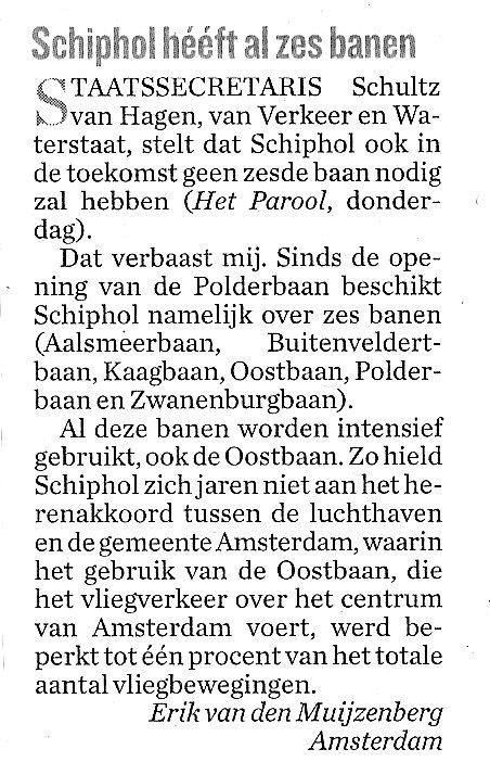 Schiphol heeft al 6 banen