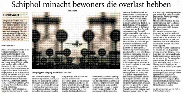Schiphol minacht bewoners die overlast hebben
