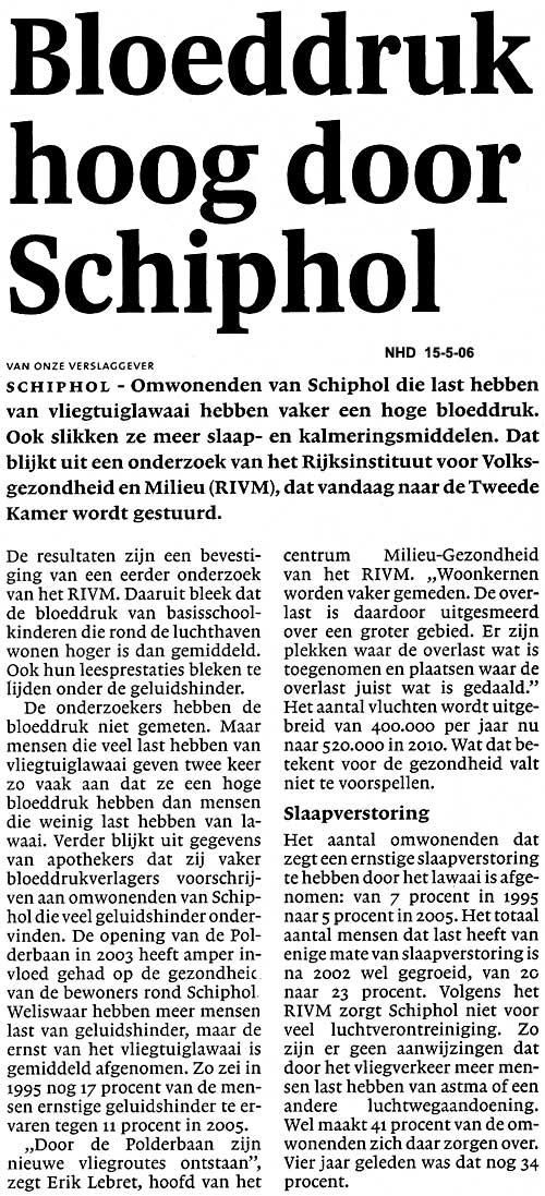 Bloeddruk hoog door Schiphol