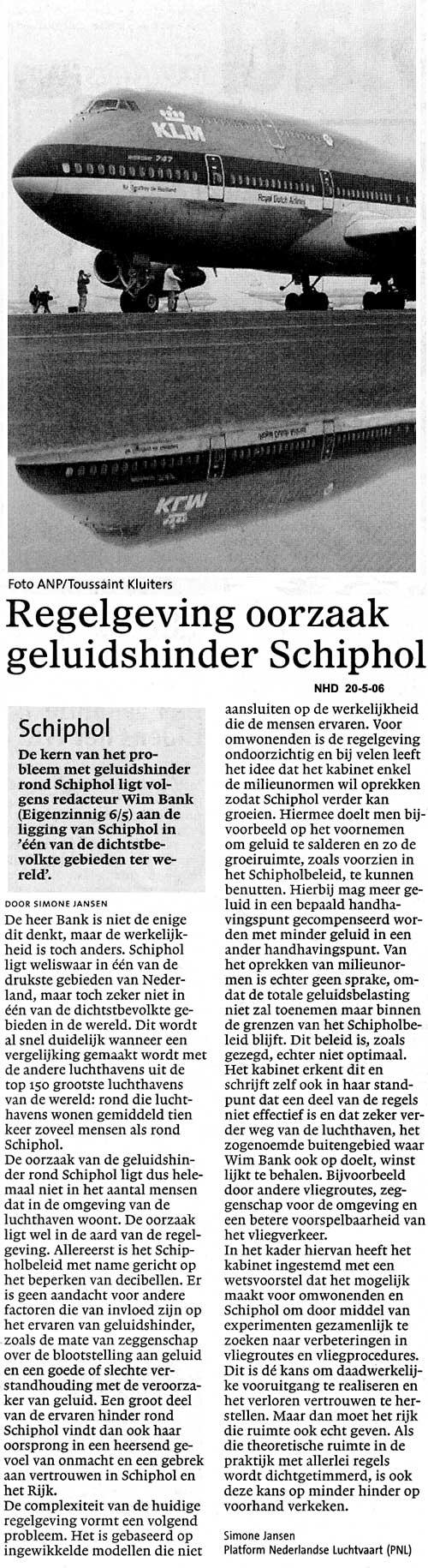 Regelgeving oorzaak geluidshinder Schiphol