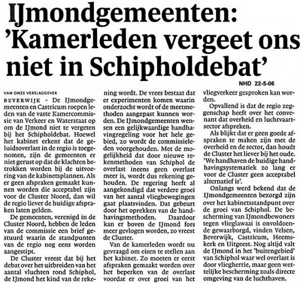 """IJmondgemeenten: """"Kamerleden vergeet ons niet in Schipholdebat"""""""