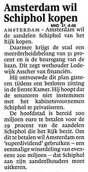 Amsterdam wil Schiphol kopen