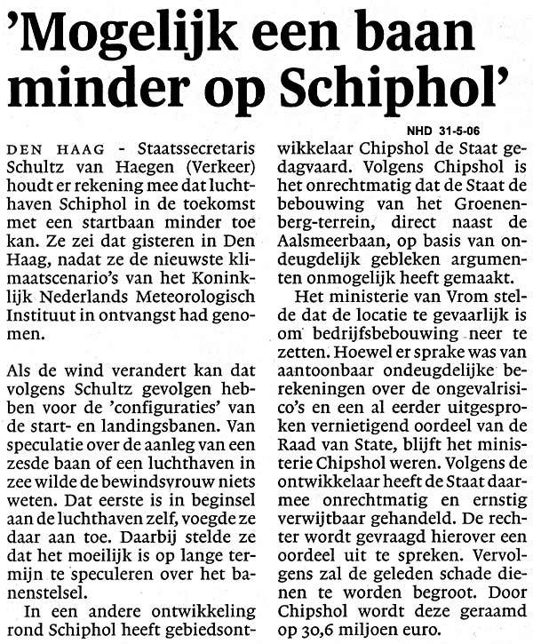 Mogelijk een baan minder op Schiphol
