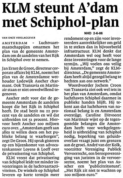 KLM steunt A'dam met Schiphol-plan