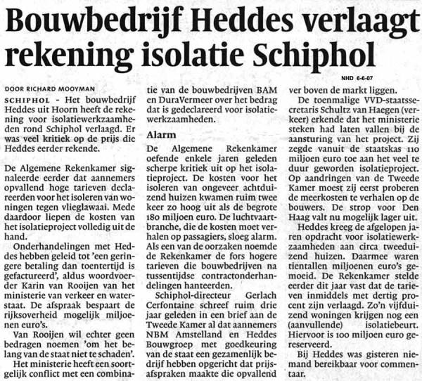 Bouwbedrijf Heddes verlaagt rekening isolatie Schiphol