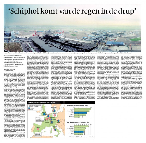 """""""Schiphol komt van de regen in de drup"""""""