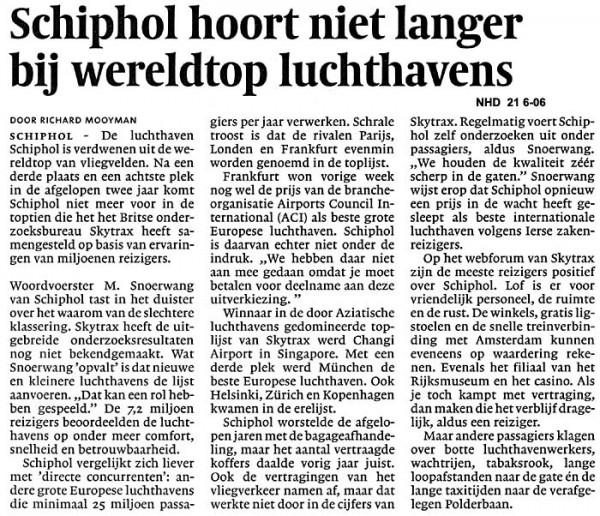 Schiphol hoort niet langer bij de wereldtop luchthavens
