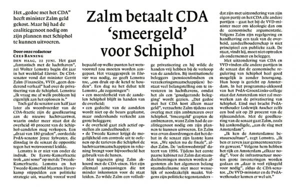Zalm betaalt CDA 'smeergeld' voor Schiphol